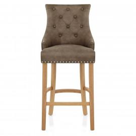 Chaise de Bar Chêne Faux Cuir - Ascot Antique