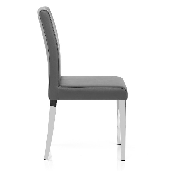Chaise Faux Cuir Chrome - Dash Gris
