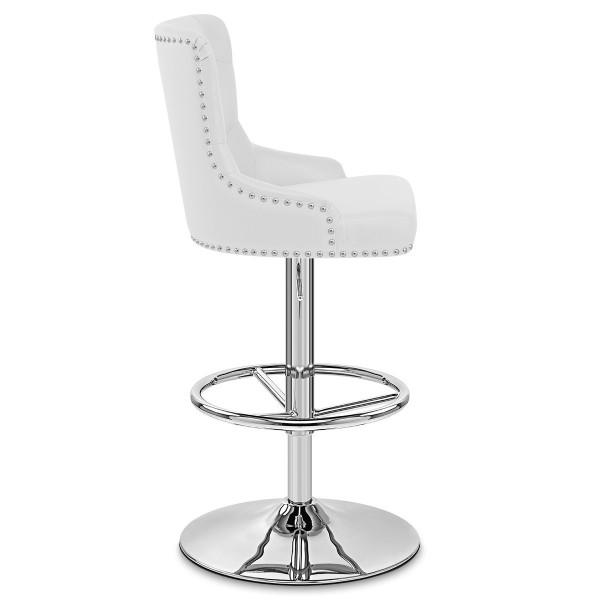 Chaise de Bar Faux Cuir Chrome - Manor Blanc