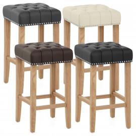 Chaise de Bar Cuir Crouté Bois - Chelsea