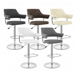 Chaise de Bar Faux Cuir Chrome - Skyline