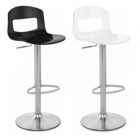 Chaise de Bar Plastique Chrome Brossé - Stardust Noir et Blanc
