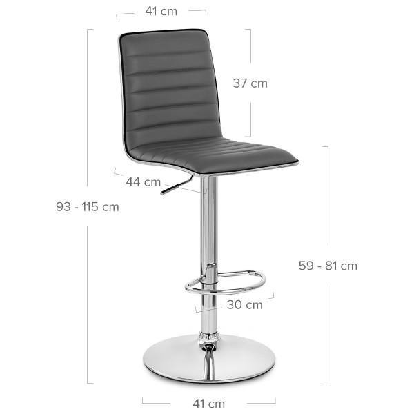 Chaise de Bar Faux Cuir Chrome - Hiline Gris
