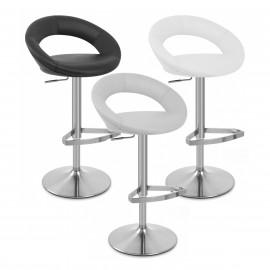 Chaise de Bar Faux Cuir Chrome Brossé - Crescent Matelassé