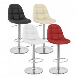 Chaise de Bar Faux Cuir Chrome Brossé - Rochelle