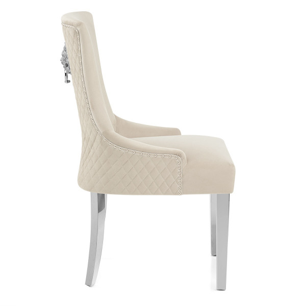 Chaise Métal Velours - Fontaine Taupe