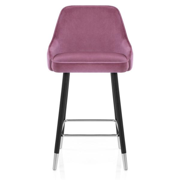 Chaise de Bar Bois Velours - Glam Rose