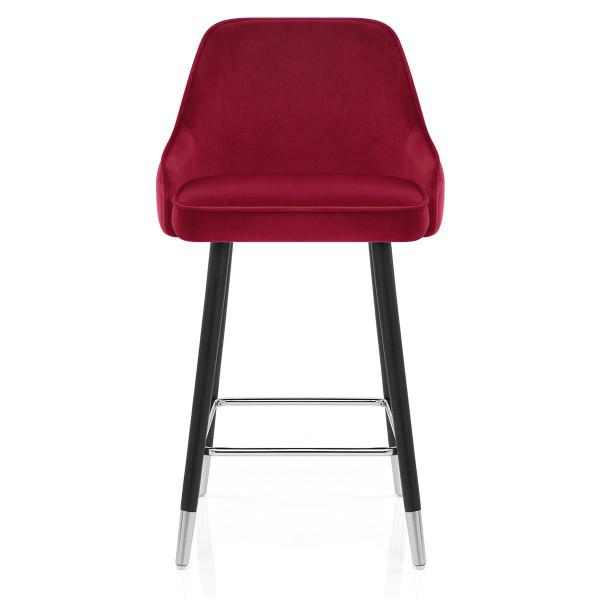 Chaise de Bar Bois Velours - Glam Rouge
