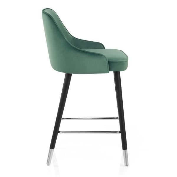 Chaise de Bar Bois Velours - Glam Vert