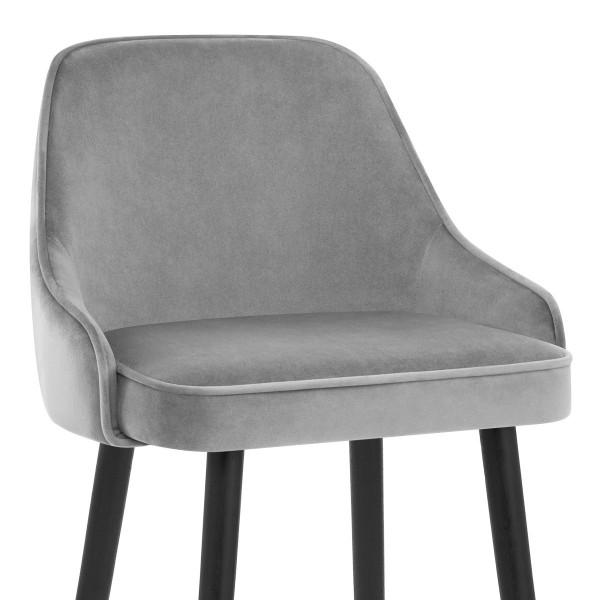 Chaise de Bar Bois Velours - Glam Gris