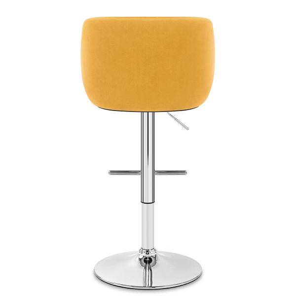Chaise de Bar Chrome Velours - Dakota Jaune