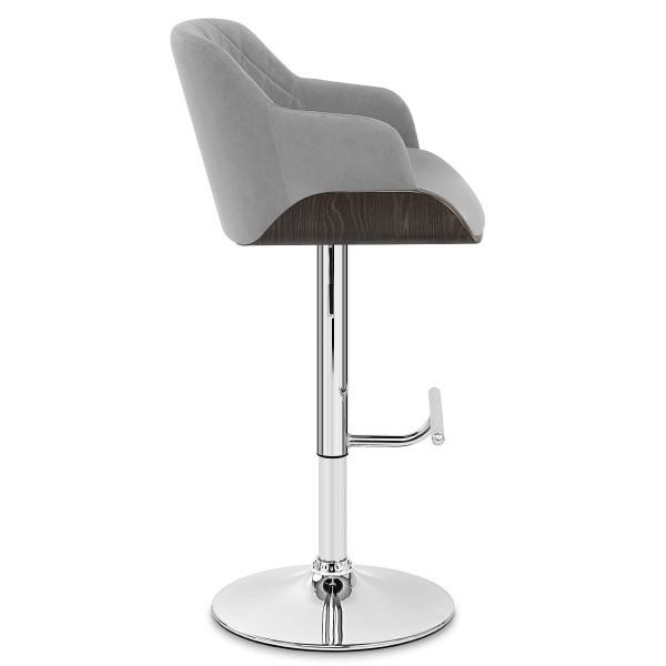 Chaise de Bar Chrome Velours - Dakota Gris
