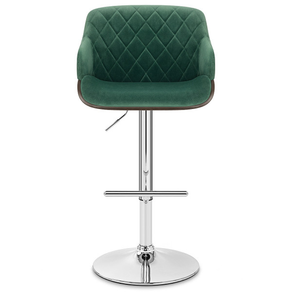 Chaise de Bar Chrome Velours - Dakota Vert