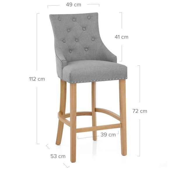 Chaise de Bar Chêne Tissu - Ascot Gris