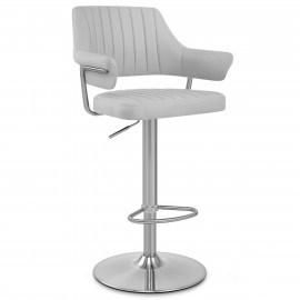 Chaise de Bar Chrome Brossé Faux Cuir - Skyline