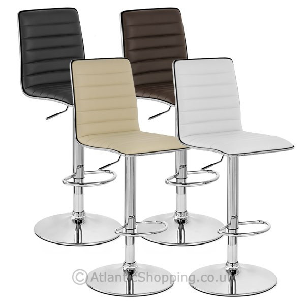 chaise de bar faux cuir chrome hiline monde du tabouret. Black Bedroom Furniture Sets. Home Design Ideas