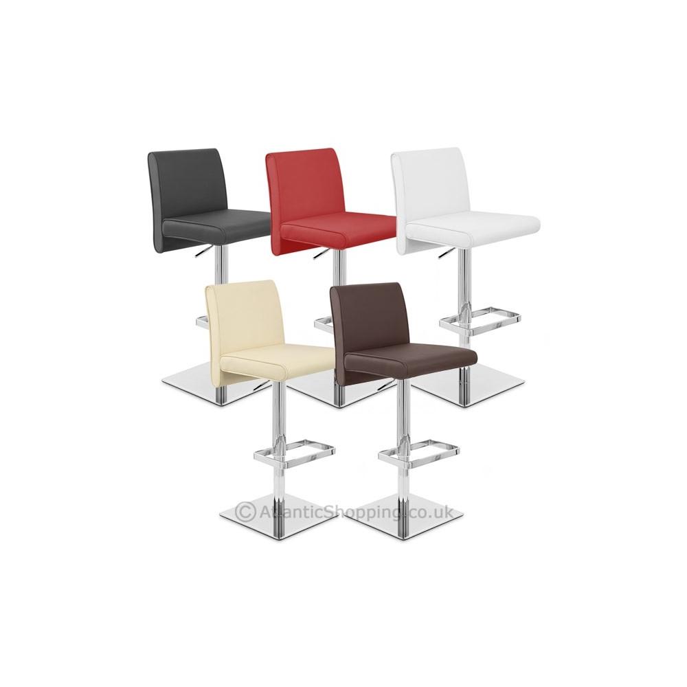 Tabouret de bar cuir siena chrome monde du tabouret - Chaise de bar cuir ...
