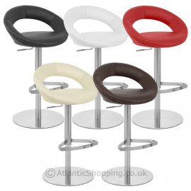 Chaise de Bar Cuir Chrome Brossé - Crescent Matelassé